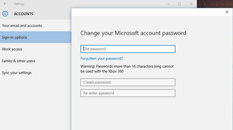 Change Account Password in Windows 10