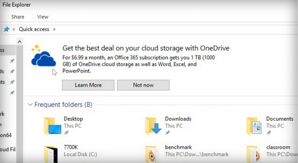 OneDrive Ads in Windows 10