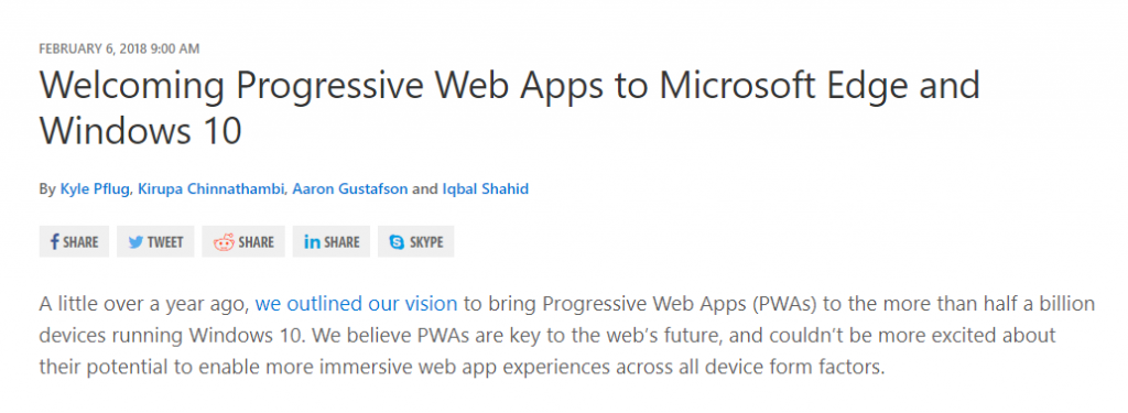 Progressive Web Apps into Windows